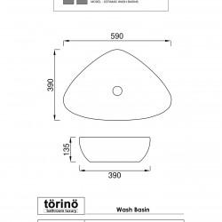 törinö BS1228 Counter Top Wash Basin