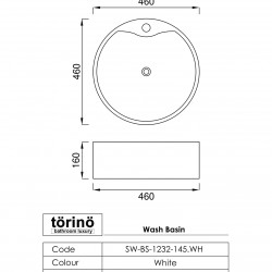 törinö BS1232 Counter Top Wash Basin