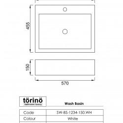 törinö BS1234 Counter Top Wash Basin