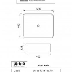 törinö  BS1243 Counter Top Wash Basin